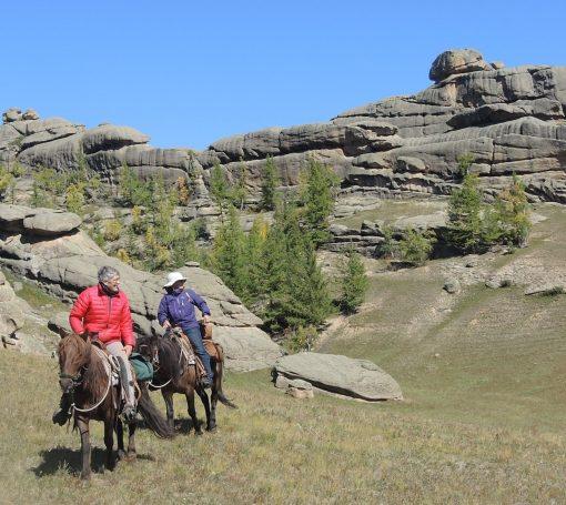 horseback riding in Mongolia's Gorkhi Terelj National Park